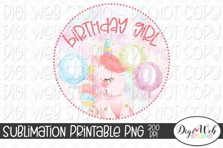 Birthday Girl Unicorn with Balloons Sublimation Design