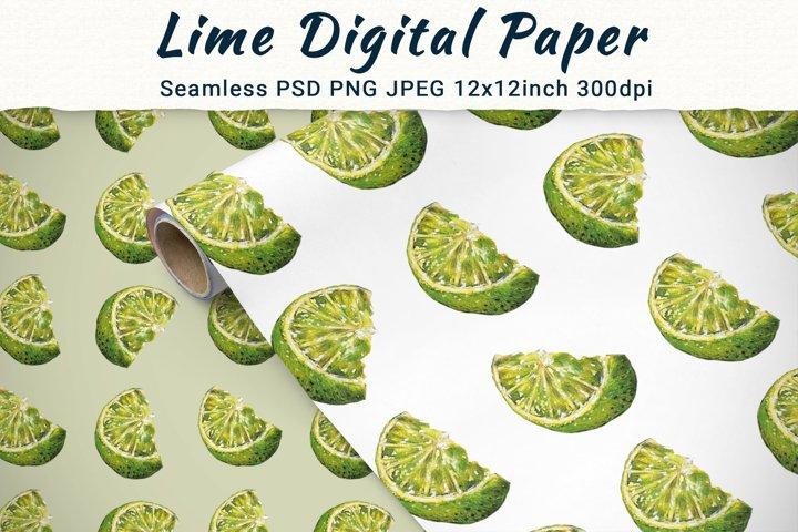 Lime Digital Paper, Summer Tropical Seamless Pattern