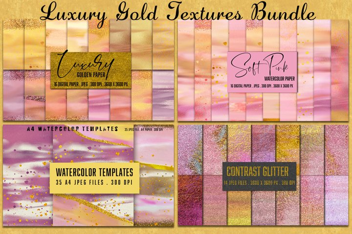 Luxury Gold & Watercolor painted Textures Bundle