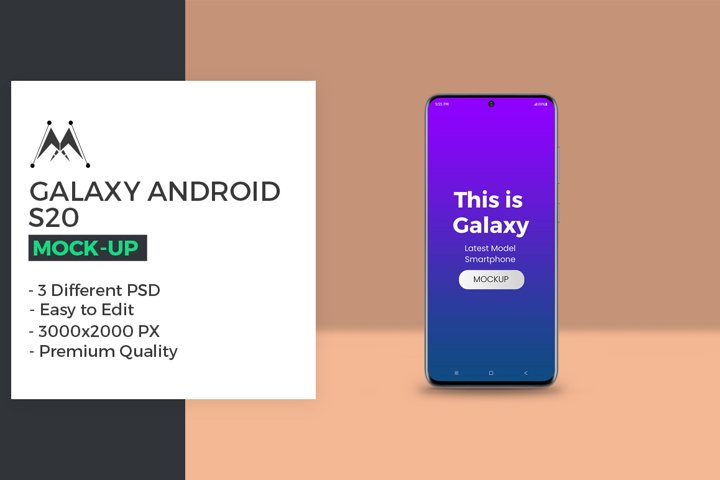 Galaxy S20 Android Smratphone Mockup