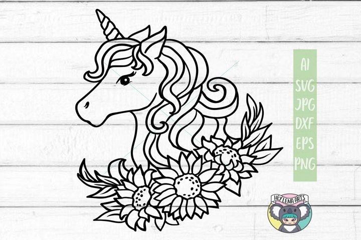 Unicorn svg, Sunflower svg, Files for Cricut, Cut File, dxf