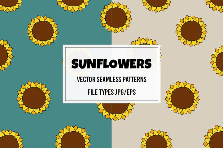 Vector seamless pattern with sunflowers. Jpg/Eps