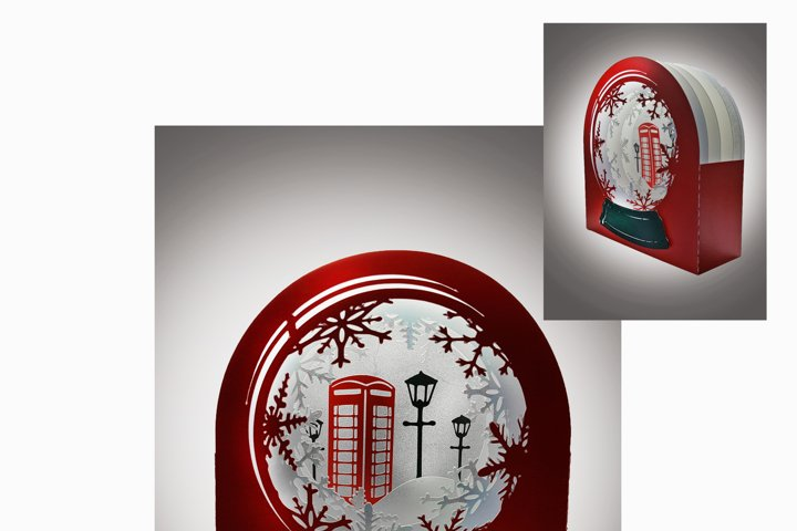 3D Snow Globe Classic Red Telephone Box greetings card