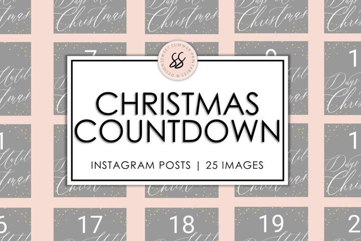 Christmas Countdown Gray & Gold Instagram Posts
