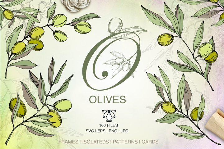 Olives vector EPS watercolor set   example