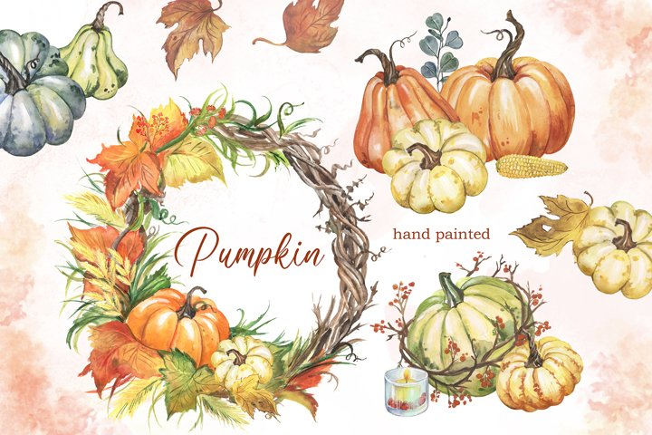 Watercolor pumpkin clipart with autumn wreath. Fall harvest