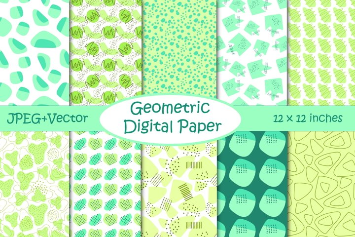 Modern Geometric Digital Paper Pack - Green and Turquoise