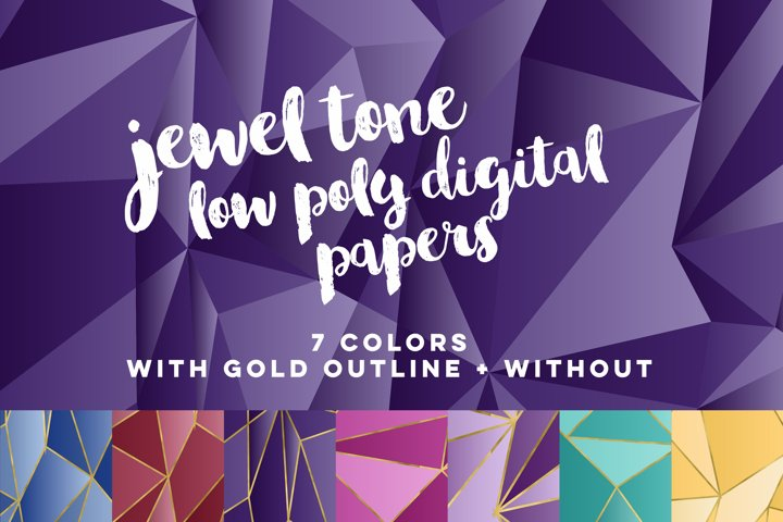 Jewel Tone Low Poly Digital Papers
