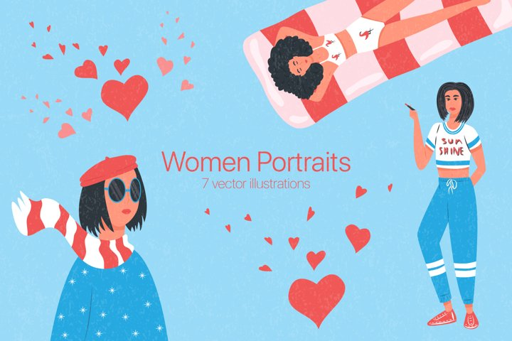 Women portraits vector collection
