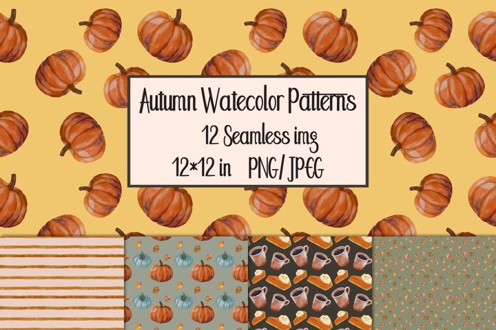 Watercolor Autumn Seamless Patterns