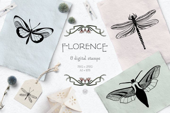 Butterfly clipart, wedding clipart, vintage clipart, spring