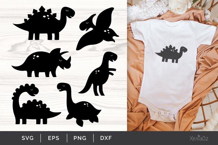 Dinosaur SVG, Dinosaur Silhouette Clipart, Cute Dino Cricut