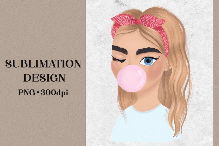 Cute girl illustration. Sublimation Design. PNG file