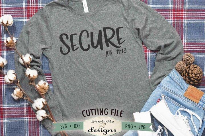 Secure | Job 11-18 | Christian Bible Verse SVG