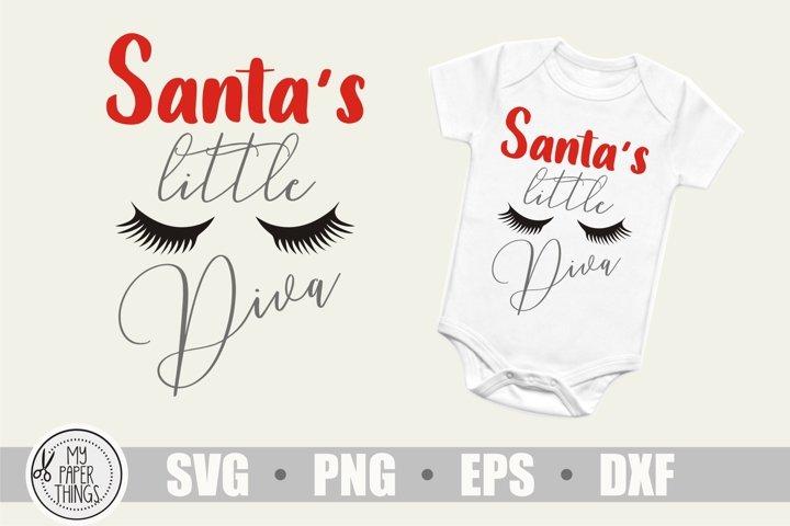Santas little Diva svg, Baby Girl Christmas svg