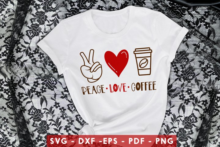 Peace Love Coffee SVG, DXF, PDF, EPS, PNG