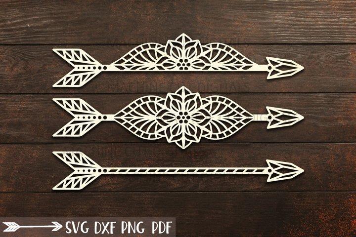 Floral Mandala Arrows cut out svg dxf laser templates