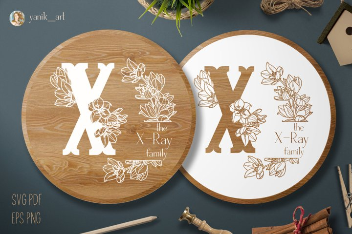 Monogram X with wreath and shield for Farmhouse SVG EPS PNG