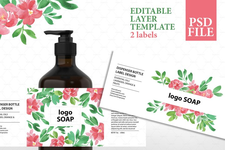 Soap label editable layer template PSD
