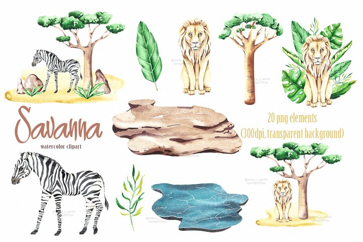 Savanna animal & Tropical clipart example 2