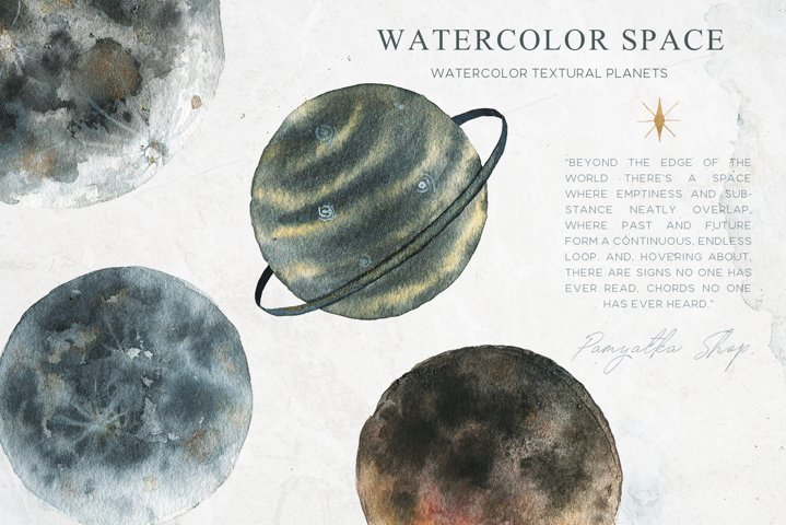 Watercolor space planets- moon clipart