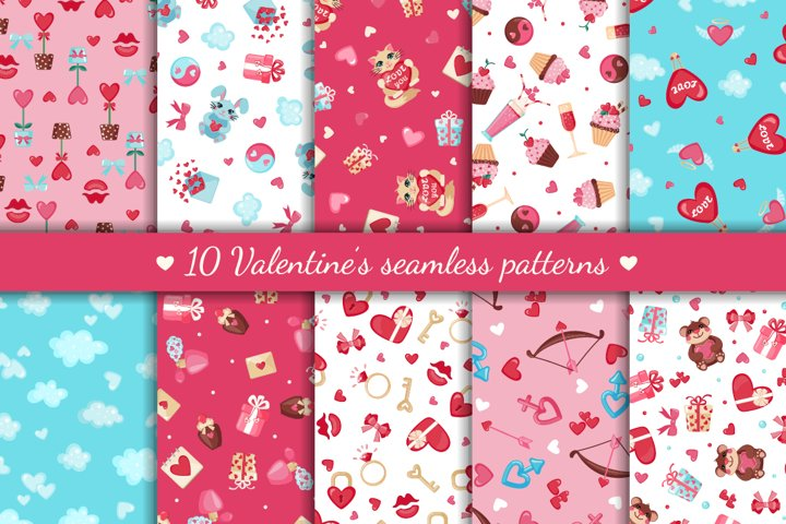 Valentines Day Seamless Patterns