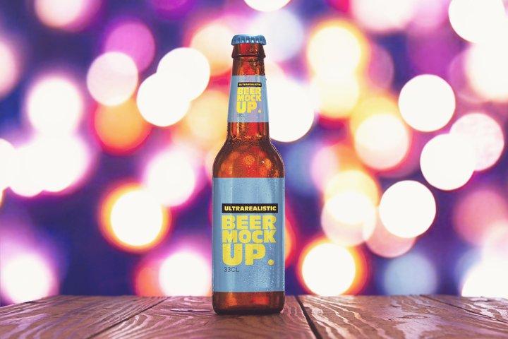 Light Blur Beer Mockup