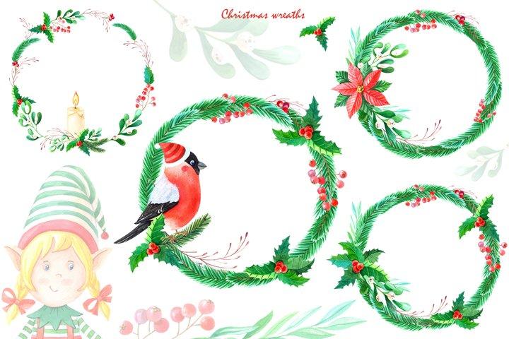 Watercolor christmas wreath