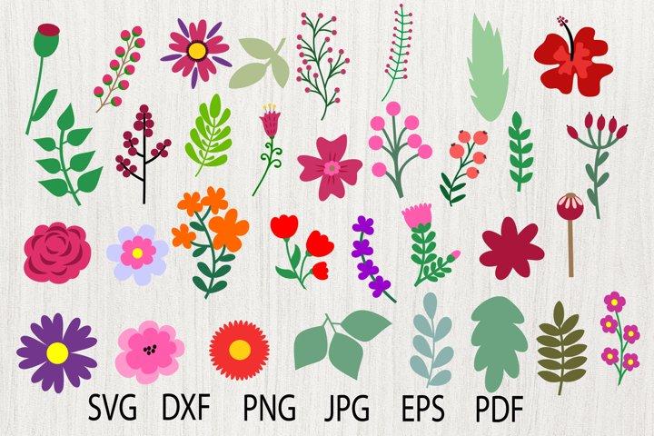 Flower SVG, Flower Elements, Leaf Clipart