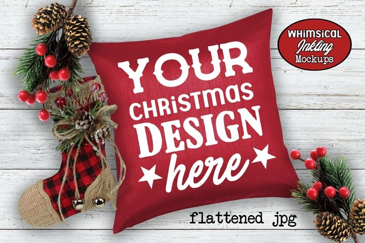 Pretty Red Christmas Pillow Mockup example