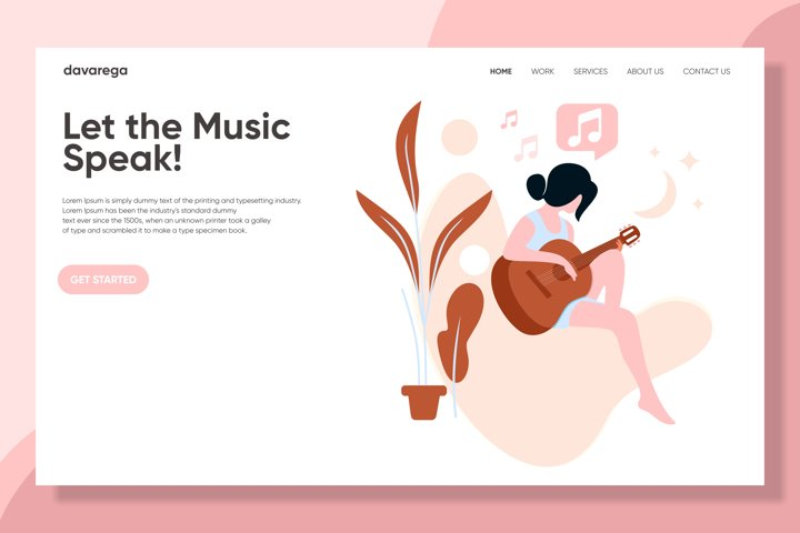 Let The Music Speak - Landing page - editable vector