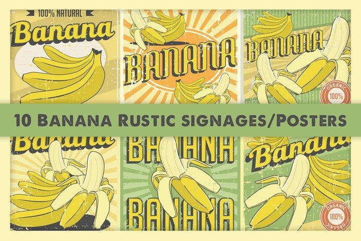 Banana Retro Signage Vintage Poster Vector