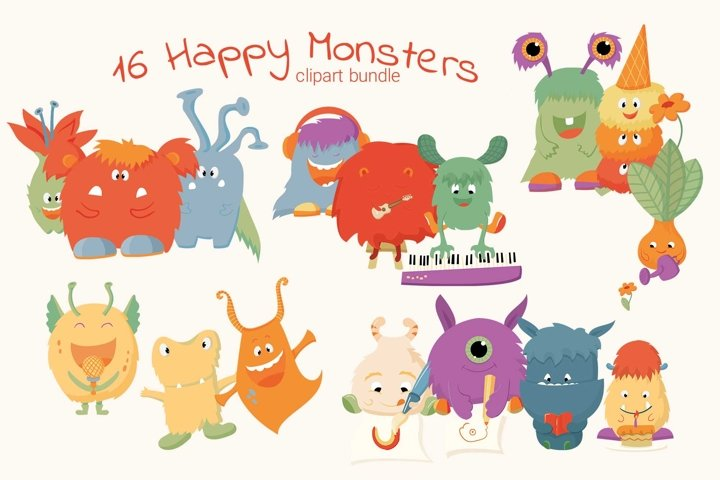 Happy monsters vector clipart illustrations