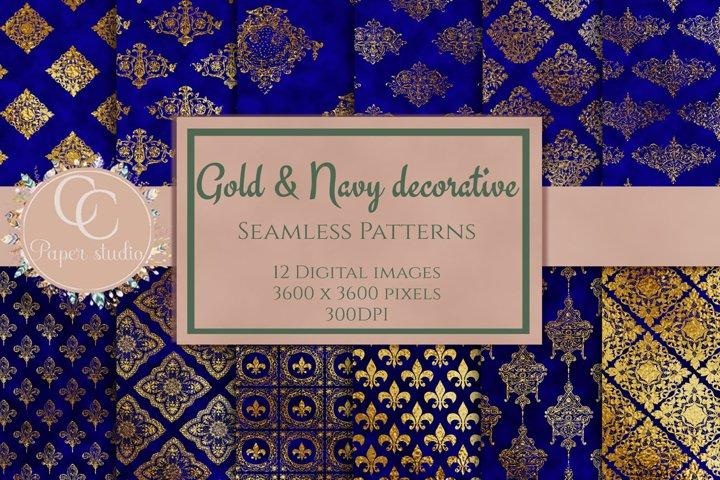 Blue & Gold damask digital paper