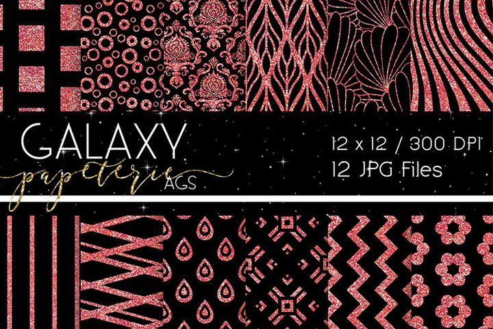 Digital Papers - Black and Red Glitter, Patterns