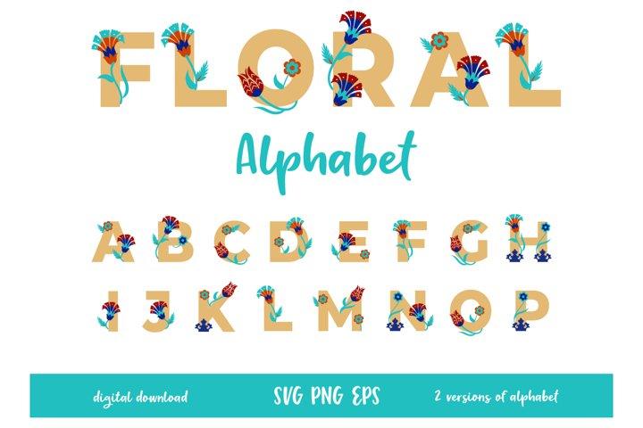 Floral Nursery Alphabet, Digital Printable Letters, SVG, PNG
