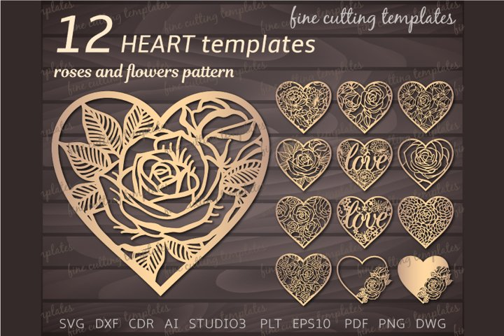 12 Lace Heart SVG cutting templates with roses and flowers