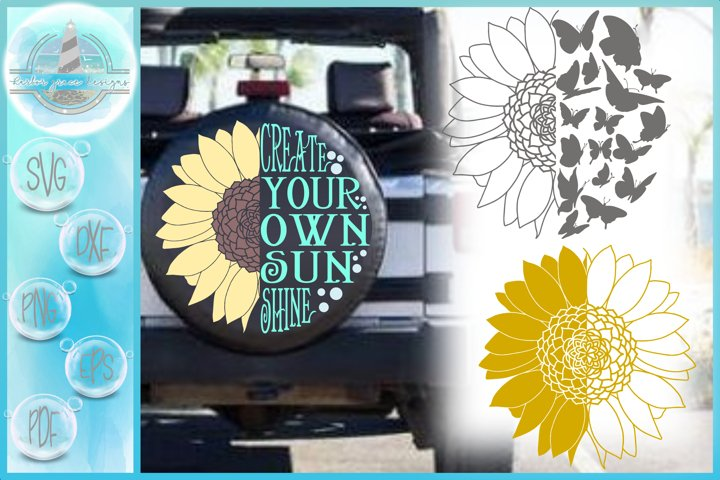 Sunflower Create Your Own Sunshine Round Quote SVG