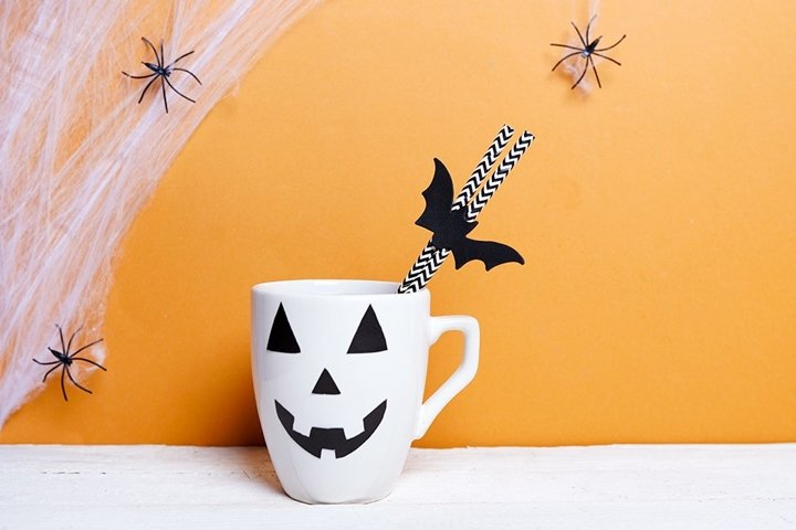 Coffee with jack o lantern in halloween day