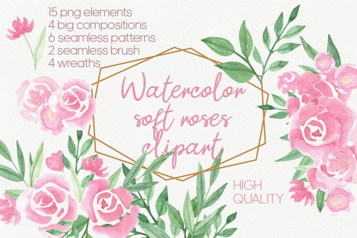 Soft pink watercolor flowers roses clipart. Wedding design