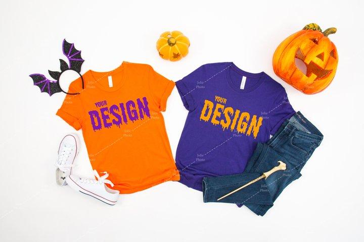 Bella Canvas 3001 Orange Team Purple Tshirt Mockup Halloween