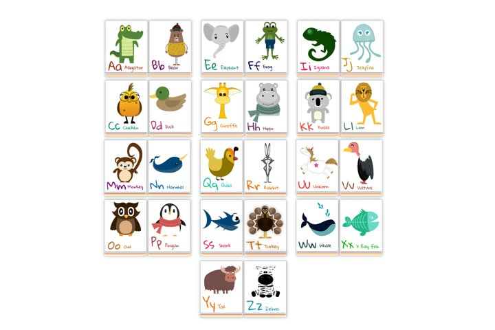 Alphabet flash cards for kids. Animal abc cards