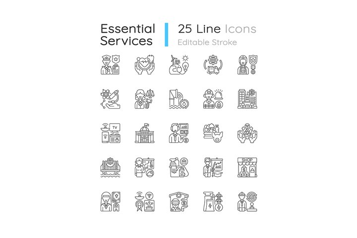 Essential services linear icons set example