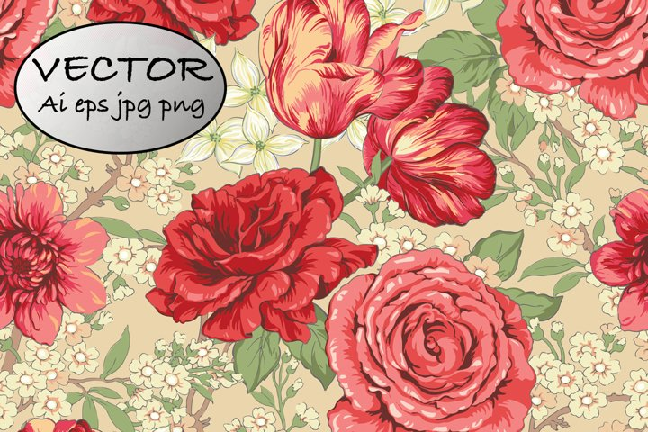 Chintz floral pattern and rose clipart