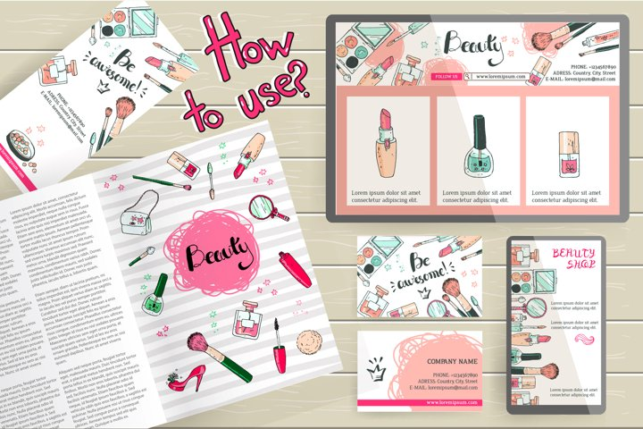 Doodle cosmetics, fashion, spa and beauty. Vector. - Free Design of The Week Design1