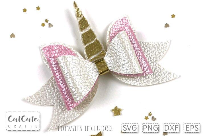 Unicorn Hair Bow SVG cut files, Bow template