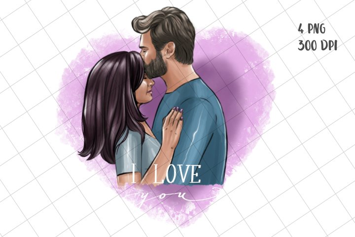 Loving couple in heart. Sublimation design, fashion clipart