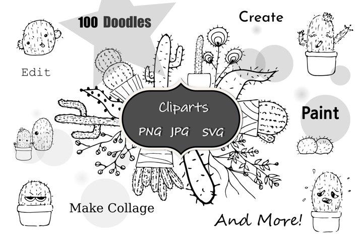 Hand drawn Cactus Clipart / Cacti Clip Arts / Cuddly Cactus