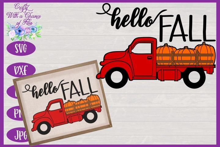 Hello Fall SVG | Pumpkin Truck SVG | Halloween SVG
