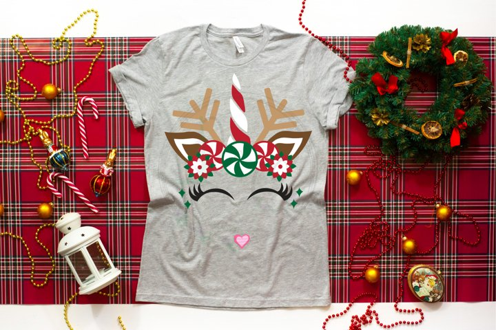 Candy Cane Unicorn Reindeer SVG
